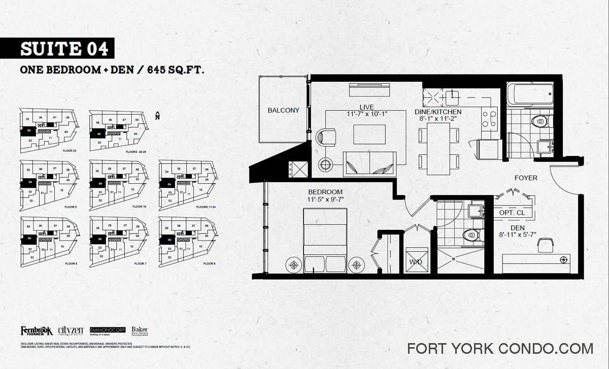 Garrison point condos preconstruction fort york condo for 1 bedroom condo floor plans