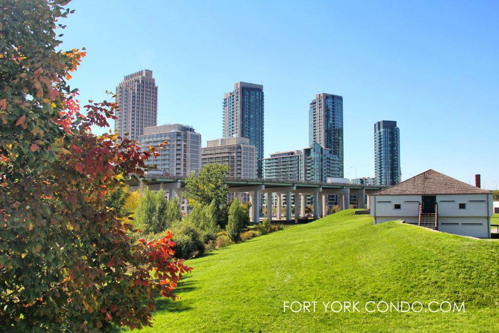 Fort York Condos and historic Fort York side by side