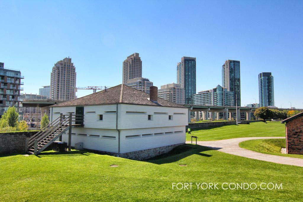 Fort York condo towers seen to the south of historic fort York