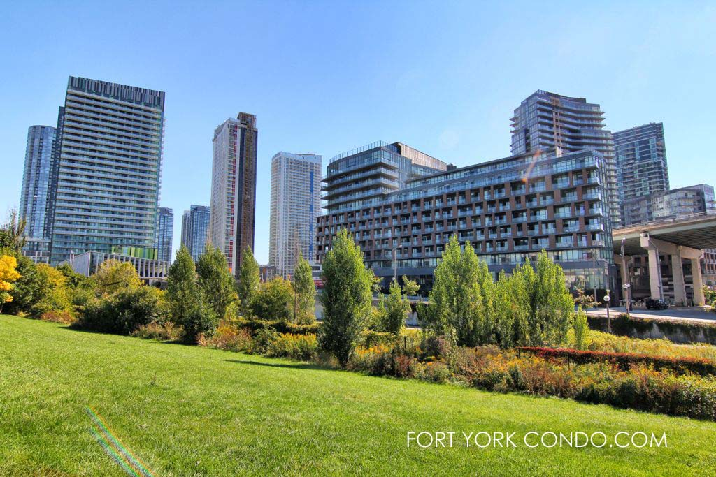 Greenspace at historic Fort York beside the Fort York Condos