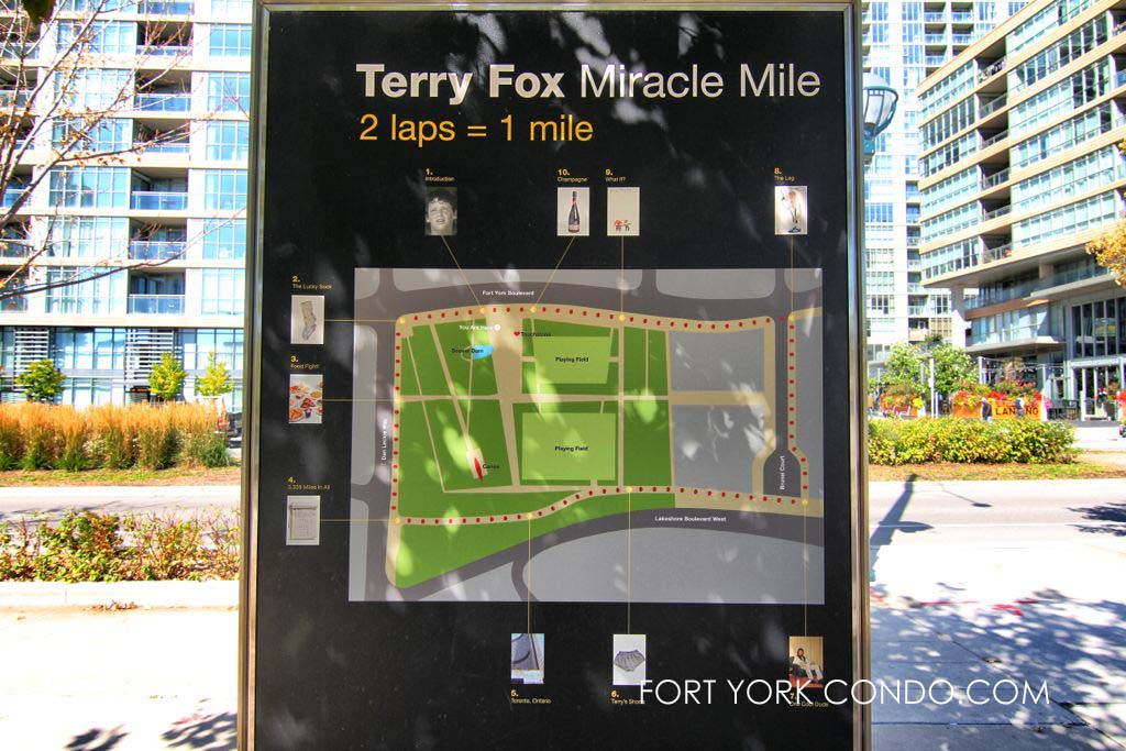 Map showing route of Terry Fox miracle mile near fort york