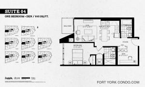 Garrison Point 1 bedroom+den penthouse floor plan 645 sq ft