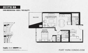 Garrison Point 1 bedroom+den podium floor plan 652 sq ft