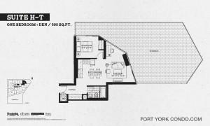 Garrison Point 1 bedroom+den terrace floor plan 598 sq ft