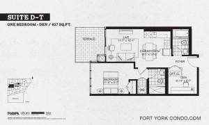 Garrison Point 1 bedroom+den terrace floor plan 637 sq ft