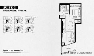Garrison Point 1 bedroom 530 sq ft floor plan Suite 01