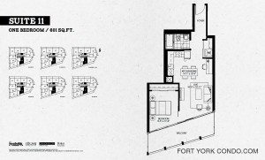Garrison Point 1 bedroom floor plan 601 square feet Suite 11