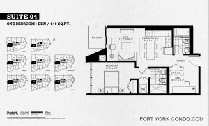 Garrison Point 1 bedroom plus den 645 sq ft floor plan Suite 04