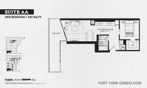 Garrison Point 1 bedroom podium floor plan 593 sq ft