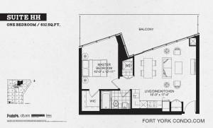 Garrison Point 1 bedroom podium floor plan 632 sq ft