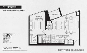 Garrison Point 1 bedroom podium floor plan 636 sq ft