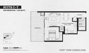 Garrison Point 1 bedroom terrace floor plan 496 sq ft