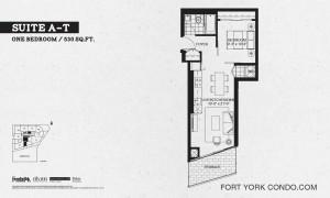 Garrison Point 1 bedroom terrace floor plan 530 sq ft