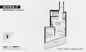 Garrison Point 1 bedroom terrace floor plan 601 sq ft