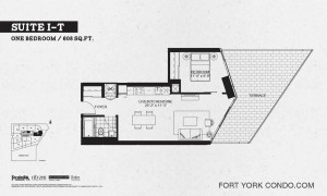 Garrison Point 1 bedroom terrace floor plan 608 sq ft