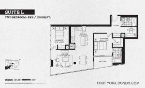 Garrison Point 2 bedroom+den penthouse floor plan 1051 sq ft