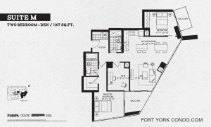 Garrison Point 2 bedroom+den penthouse floor plan 1107 sq ft