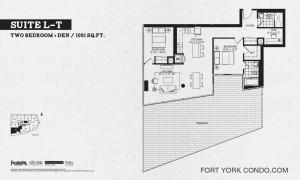 Garrison Point 2 bedroom+den terrace floor plan 1051 sq ft