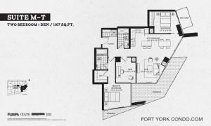 Garrison Point 2 bedroom+den terrace floor plan 1107 sq ft