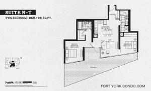 Garrison Point 2 bedroom+den terrace floor plan 941 sq ft
