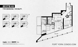Garrison Point 2 bedroom 801 sq ft floor plan Suite 02
