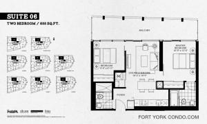 Garrison Point 2 bedroom penthouse floor plan 688 sq ft