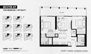 Garrison Point 2 bedroom penthouse floor plan 697 sq ft