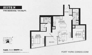 Garrison Point 2 bedroom penthouse floor plan 941 sq ft