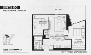 Garrison Point 2 bedroom podium floor plan 647 sq ft