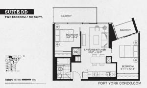 Garrison Point 2 bedroom podium floor plan 650 sq ft