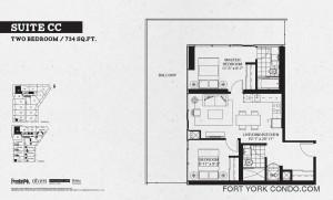 Garrison Point 2 bedroom podium floor plan 734 sq ft