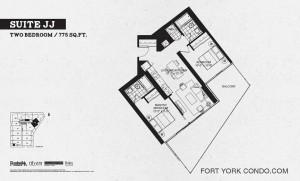 Garrison Point 2 bedroom podium floor plan 775 sq ft