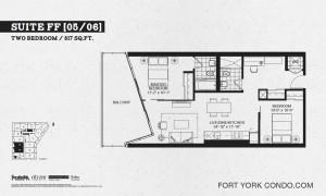 Garrison Point 2 bedroom podium floor plan 817 sq ft