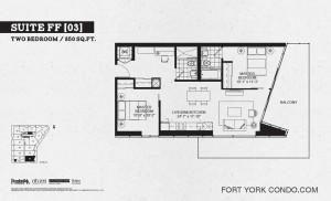 Garrison Point 2 bedroom podium floor plan 850 sq ft
