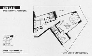 Garrison Point 2 bedroom podium floor plan 966 sq ft