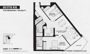 Garrison Point 2 bedroom podium floor plan 986 sq ft