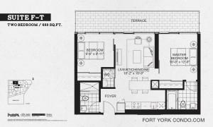 Garrison Point 2 bedroom terrace floor plan 688 sq ft