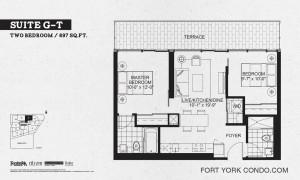 Garrison Point 2 bedroom terrace floor plan 697 sq ft