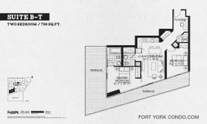 Garrison Point 2 bedroom terrace floor plan 799 sq ft