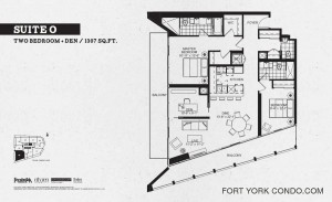 Garrison Point condo two bedroom and den floor plan 1307 sq ft Suite O