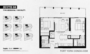 Garrison Point condos 2 bedroom 688 sq ft floor plan Suite 06