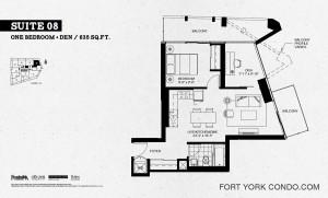 Garrison Point condos one bedroom+den floor plan 635 sq ft Suite 08