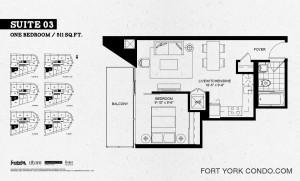 Garrison Point one bedroom 511 sq ft floor plan Suite 03