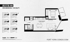 Garrison Point one bedroom 608 sq ft floor plan Suite 09