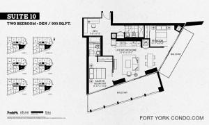 Garrison Point two bedroom + den 903 square feet floor plan Suite 10