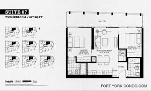 Garrison Point two bedroom 697 sq ft floor plan Suite 07