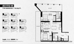 Garrison Point two bedroom 735 sq ft floor plan Suite 05