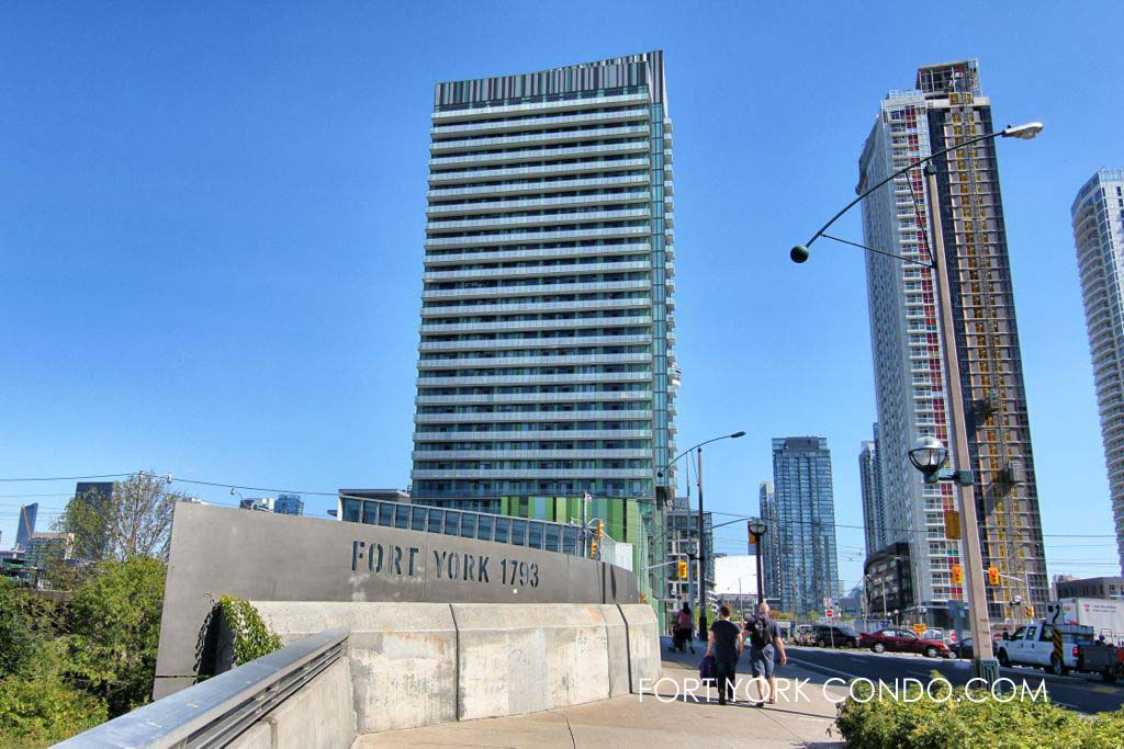Boundary between historic fort york and the fort york condo neighbourhood