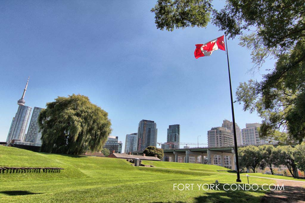 Parkland at Fort York national historic site overlooking fort york condos